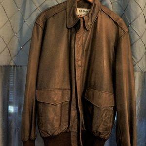 L.L. Bean Leather Bomber Jacket  (40 Tall) Sz L